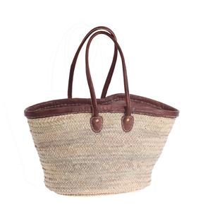 Coșuleț Kbas din fibre de palmier, tapiserie din piele cu mânere și căptușeală, închidere cu fermoar 087145