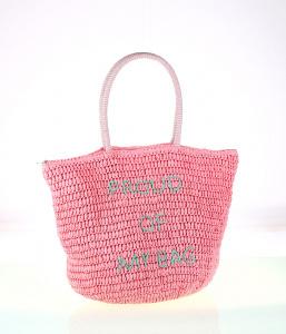 Dámská taška ze syntetické rafie Kbas s nápisem růžová 285707RS