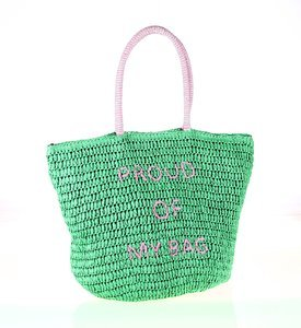 Dámska taška zo syntetickej rafie Kbas s nápisom tyrkysová