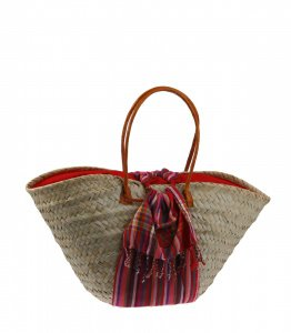 Kbas košík Keňa z palmovej slamy zdobený bavlneným viacfarebným šálom s podšívkou a koženými rúčkami 294205