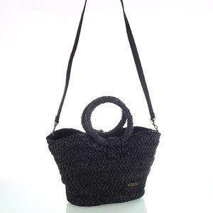 Dámska slamená taška na rameno s koženým popruhom Kbas čierna 296811N