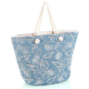 Bavlněná plážová taška se zipem Kbas modrá KB296905AZ