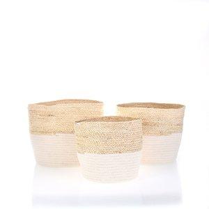 Set 3 košíků z bavlny a kukuřičného šustí Kbas světlé KB296921BL