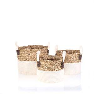 Set 3 košíkov z bavlny a palmovej trávy Kbas KB296928