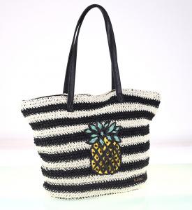Dámska taška zo syntetickej rafie Kbas s ananásom čierno-biela