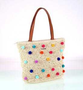 327b607b5 Dámska taška zo syntetickej rafie Kbas s farebnými brmbolcami