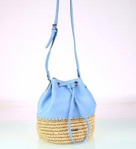 Dámska kabelka cez rameno zo syntetickej rafie a eko kože Kbas modrá 318711AZ