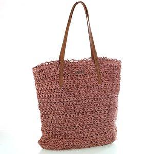 Dámska taška zo syntetickej rafie Kbas s koženými popruhmi ružová 318802RP