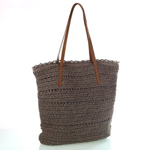 9dffcacfe Dámska taška zo syntetickej rafie Kbas s koženými popruhmi šedá 318802TP