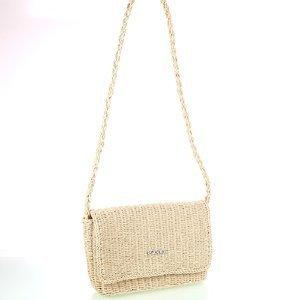 Dámská kabelka na rameno ze syntetické rafie Kbas krémová 318811C