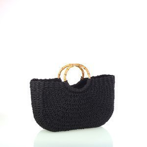 Női kötött táska szintetikus raffiából Kbas fekete KB318814N