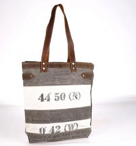 Plátená taška Kbas s potlačou a koženými rúčkami sivá
