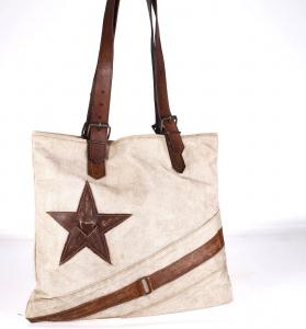Plátěná taška Kbas s koženými ramínky a kovbojským motivem krémově-hnědá