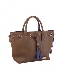 Elegantná kabelka z eko kože Kbas so strapcami hnedá