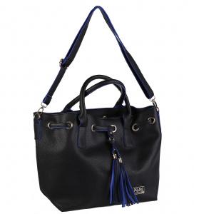 Elegantná kabelka z eko kože Kbas so strapcami čierna