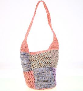 Dámská taška ze syntetické rafie Kbas růžová 327701RS