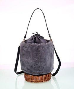 Dámska kabelka z umelej kožušiny Kbas s prúteným dnom šedá