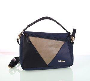 Dámska semišová kabelka Kbas s trojuholníkovým vzorom modrá