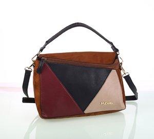 Dámska semišová kabelka Kbas s trojuholníkovým vzorom hnedá