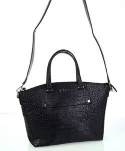 Dámska kabelka eko koža s imitáciou krokodíla Kbas čierna