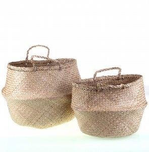 Sada 2 dámských košíků z mořské trávy Kbas přírodní barva 330601