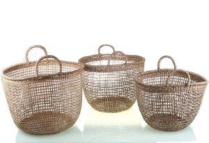 Set 3 košíkov z morskej trávy Kbas natural KB330604