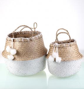 Set 2 košíkov z prírodnej morskej trávy Kbas s bielymi brmbolcami prírodno-biele 330610BL