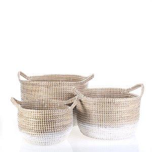 Set 3 košíkov z morskej trávy Kbas natural KB330637