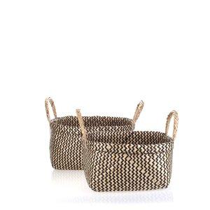 Set 2 košíkov z morskej trávy Kbas čierne KB330653