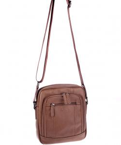 Pánská taška přes rameno eko kůže Kbas s dvěma předními kapsami hnědá