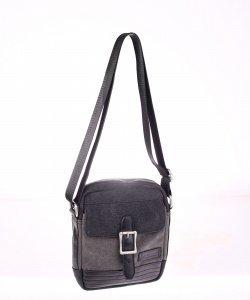 Pánská taška přes rameno z eko kůže a plátna Kbas s přezkou šedá menší