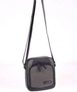 Pánská taška přes rameno z nylonu Kbas s přední kapsou šedá