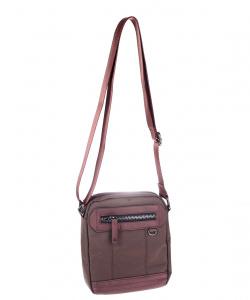 Pánská taška přes rameno z eko kůže a plátna Kbas hnědá menší