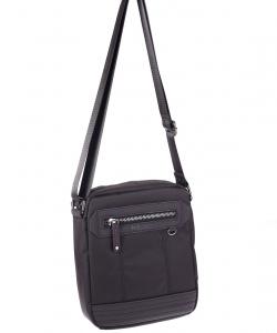 Pánská taška přes rameno z eko kůže a plátna Kbas černá
