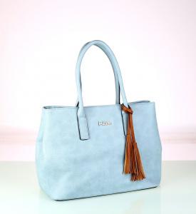 Elegantná kabelka z eko kože Kbas so strapcami modrá 338709AZ