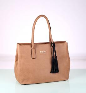 Elegantná kabelka z eko kože Kbas so strapcom béžová 338709BE