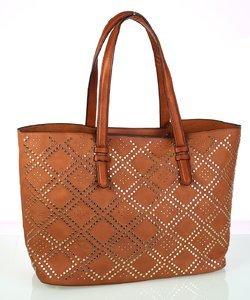 Dámska kabelka z eko kože Kbas s ozdobným vzorom hnedá