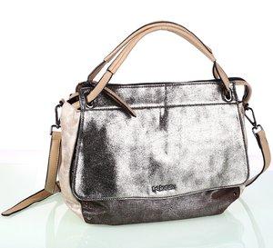 Elegantná dámska kabelka z eko kože Kbas s metalickým odleskom béžová