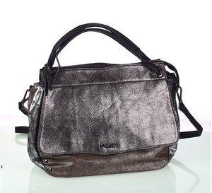 Elegantná dámska kabelka z eko kože Kbas s metalickým odleskom čierna