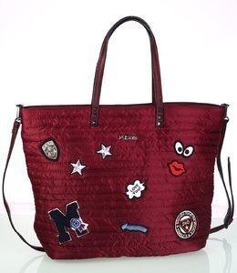 Női táska nylonból Kbas steppelt és rátétekkel díszített gránátvörös 340708GR