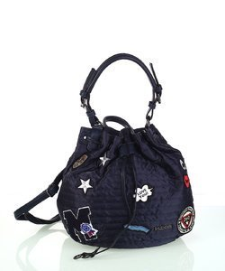 Dámska kabelka z nylónu Kbas so sťahovacím zapínaním a nášivkami modrá