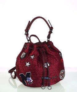 Dámska kabelka z nylónu Kbas so sťahovacím zapínaním a nášivkami granátová