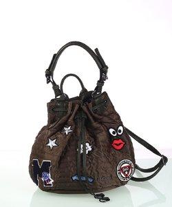 Dámska kabelka z nylónu Kbas so sťahovacím zapínaním a nášivkami khaki