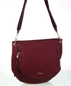 Dámska kabelka cez rameno z eko kože Kbas s ozdobným popruhom granátová