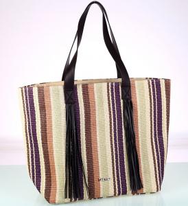Dámska taška zo syntetickej rafie Kbas so strapcami pruhovaná
