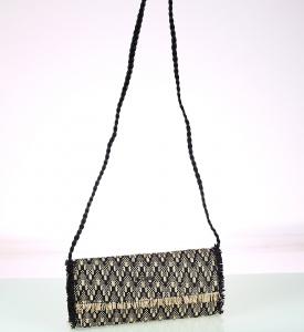 Dámska listová kabelka cez rameno Kbas zo syntetickej rafie 341709