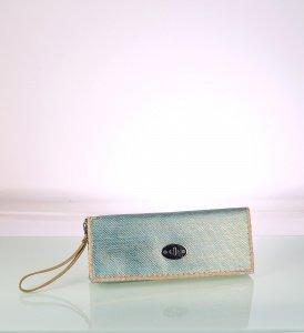 Listová kabelka zo syntetickej rafie Kbas s ombré modrá 341713AZ