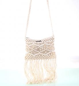 Dámska bavlnená kabelka cez rameno Kbas so strapcami biela 341714BL