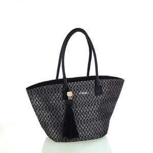 Dámska taška z bavlny Kbas čierna vzorovaná 341801