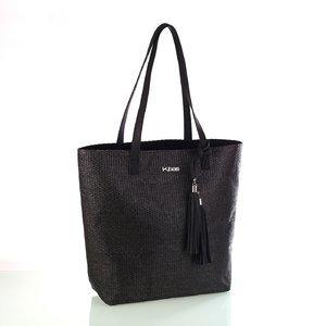 Dámska taška zo syntetickej rafie so strapcami Kbas čierna 341803N